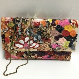 Anthropologie Colorful Floral Beaded Clutch/Purse